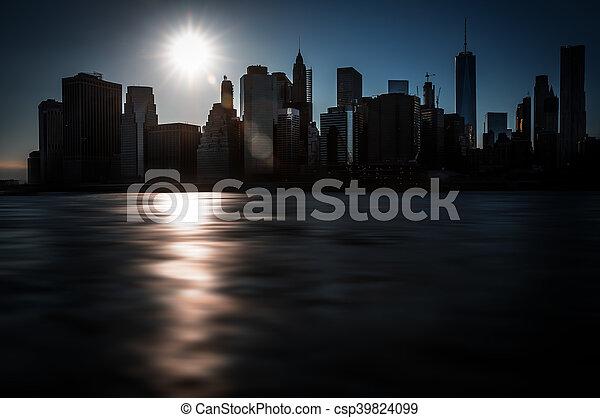 Evening New York City skyline panorama - csp39824099