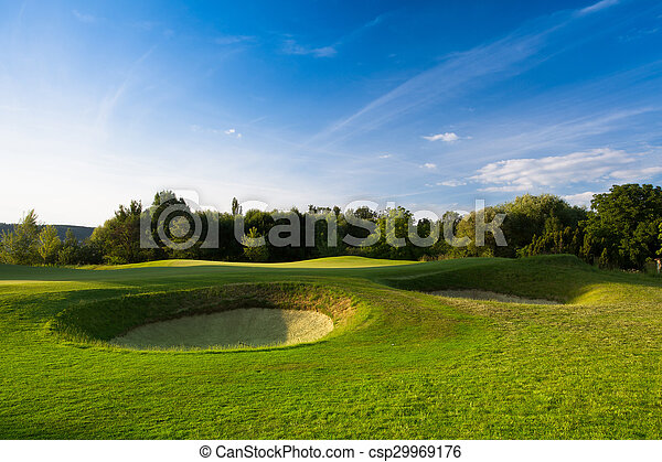 Evening on a golf course - csp29969176