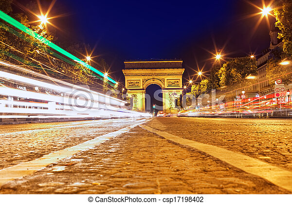 Evening on Champs-Elysees in front of Arc de Triomphe. Paris. France - csp17198402