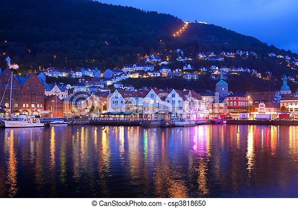 Evening panorama of Bergen - csp3818650