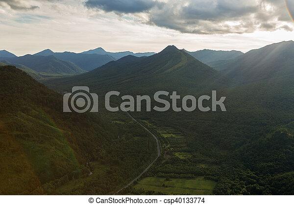 Evening rays on Kronotsky Nature Reserve in Kamchatka Peninsula. - csp40133774