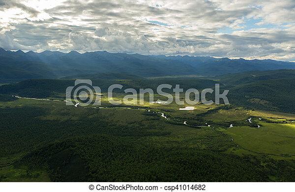 Evening rays on Kronotsky Nature Reserve in Kamchatka Peninsula. - csp41014682