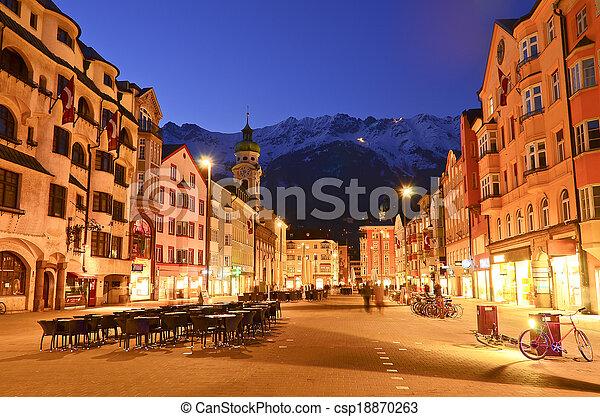 Evening scene in Innsbruck, Austria. - csp18870263