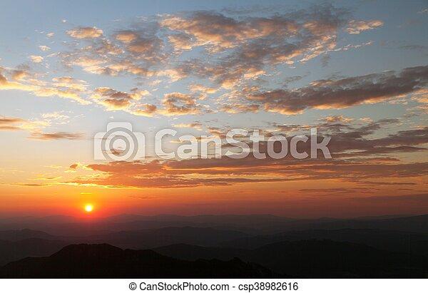 Evening sunset view of beautiful sky - csp38982616