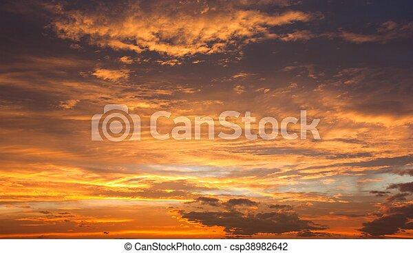 Evening sunset view of beautiful sky - csp38982642