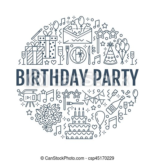 Event Agency Birthday Party Banner With Vector Line Icon Of Catering Cake Balloon Decoration Flower Delivery Invitation Card