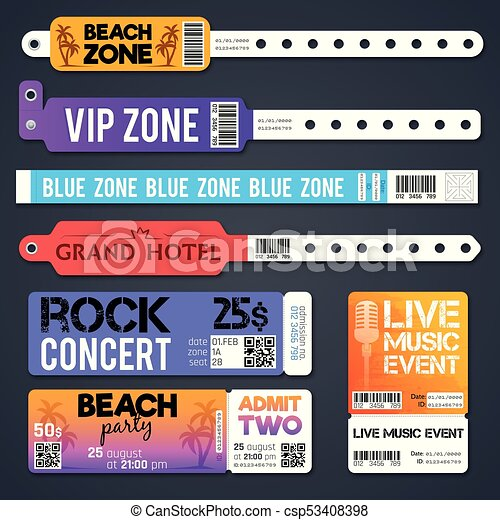 Event entrance vector bracelets and stadium zone admission tickets templates isolated - csp53408398