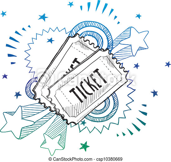 Event excitement ticket sketch - csp10380669