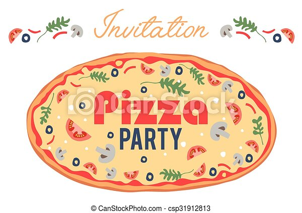 event., invite., próprio, card., cartaz, social, italian., convite, trazer, voador, jantar., topping., partido, seu, pizza - csp31912813