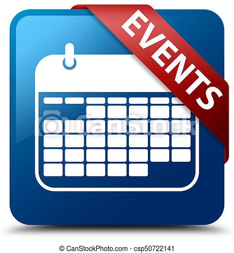 Events (calendar icon) blue square button red ribbon in corner - csp50722141