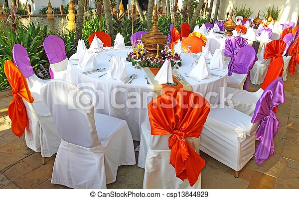Events preparation for dinner, table appointment - csp13844929