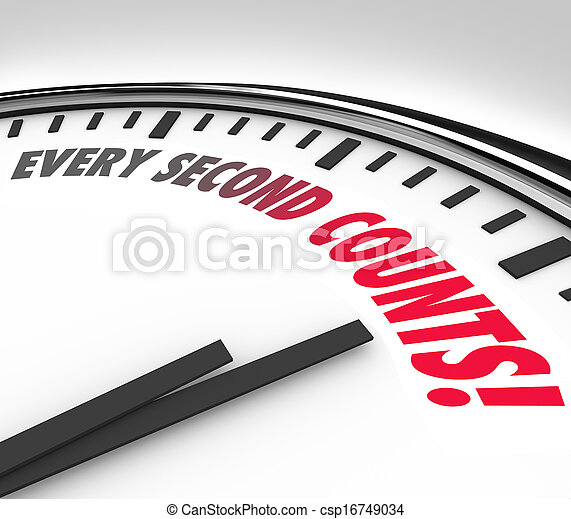 Every Second Counts Clock Countdown Deadline - csp16749034