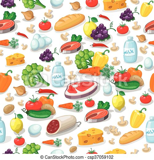 Everyday food products seamless pattern - csp37059102