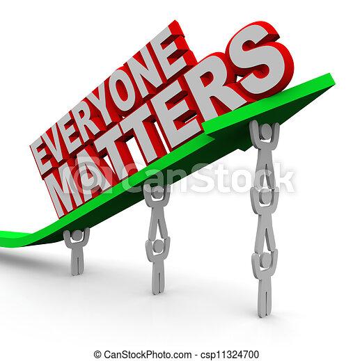 Everyone Matters Teamwork People Lifting Arrow - csp11324700