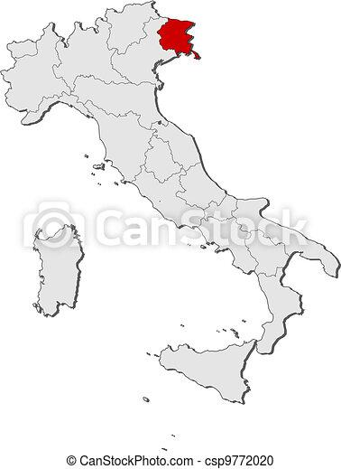 Cartina Italia Friuli Venezia Giulia.Evidenziato Mappa Friuli Venezia Giulia Italia