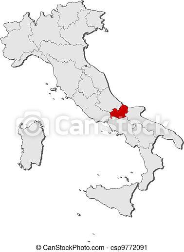 Molise Cartina Italia.Evidenziato Mappa Italia Molise