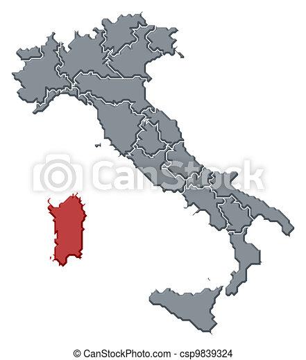 Cartina Politica Sardegna.Evidenziato Mappa Italia Sardegna Mappa Italia Politico Regioni Sardegna Highlighted Parecchi Dove Canstock