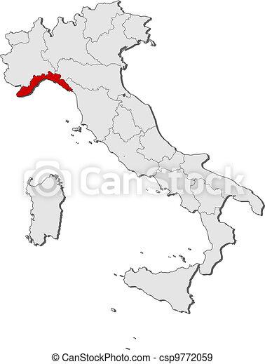 Cartina Italia Liguria.Evidenziato Mappa Liguria Italia Mappa Italia Liguria Politico Regioni Highlighted Parecchi Dove Canstock