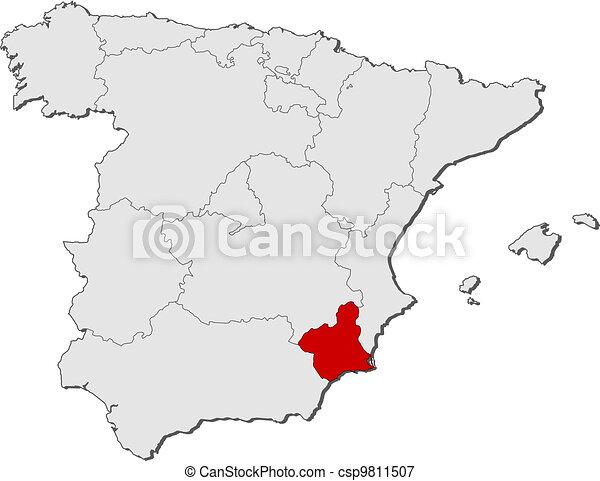 Cartina Murcia Spagna.Evidenziato Mappa Murcia Spagna Mappa Murcia Politico Regioni Highlighted Parecchi Dove Spagna Canstock