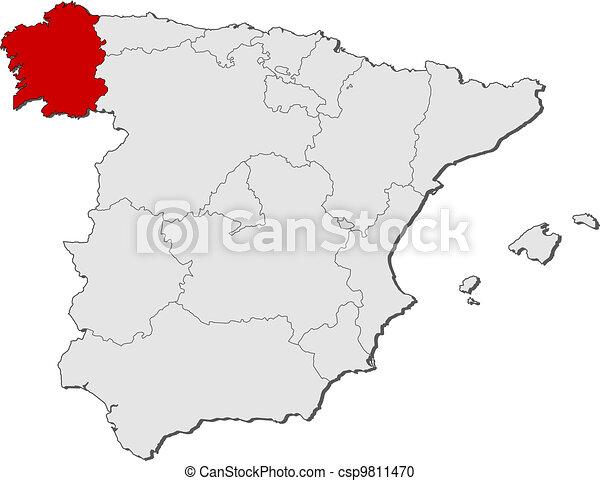 Cartina Spagna Galizia.Evidenziato Mappa Spagna Galizia Mappa Politico Regioni Highlighted Galizia Parecchi Dove Spagna Canstock