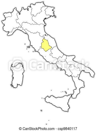 Umbria Cartina Italia.Evidenziato Mappa Umbria Italia Mappa Italia Politico Umbria Regioni Highlighted Parecchi Dove Canstock