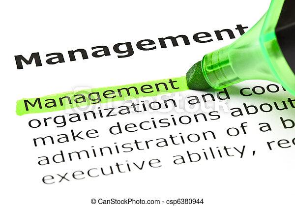 evidenziato, verde, 'management' - csp6380944