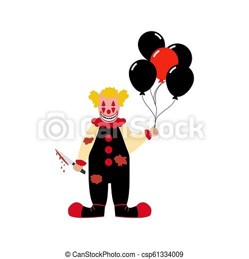 Evil clown illustration - csp61334009