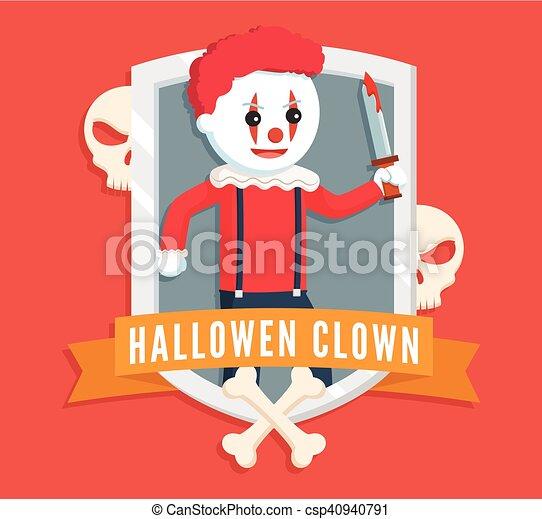 evil clown logo - csp40940791