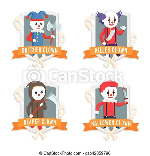 evil clown logo set - csp42859796