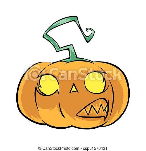 evil halloween pumpkin illustration on white background