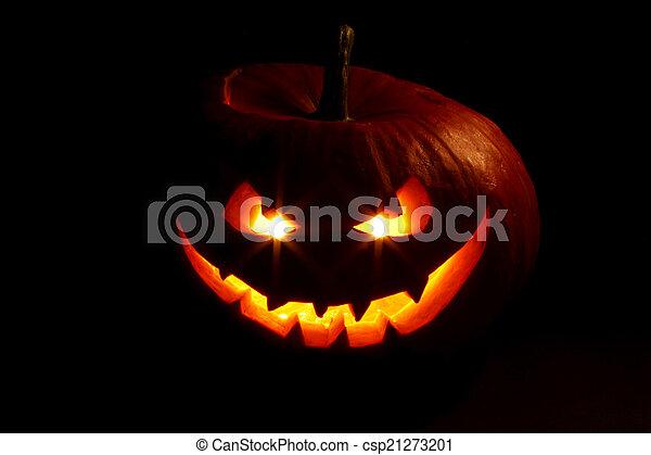 Evil halloween pumpkin - csp21273201