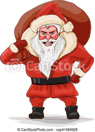 Evil Christmas.Evil Santa Claus Vector Illustration