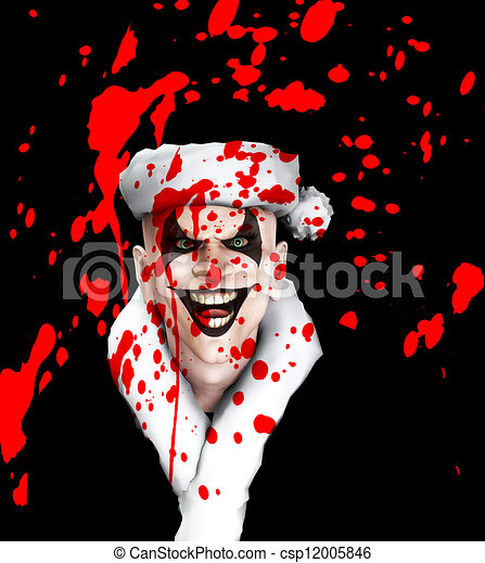 Evil Santa Clown With Blood   - csp12005846