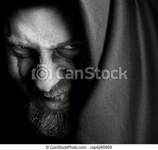 Evil sinister man with malefic wicked grin - csp4265909
