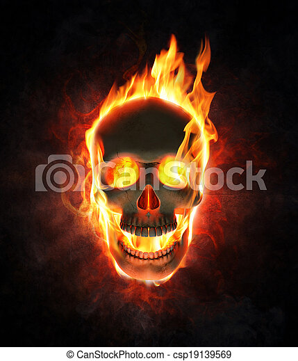 Evil skull in flames and smoke - csp19139569