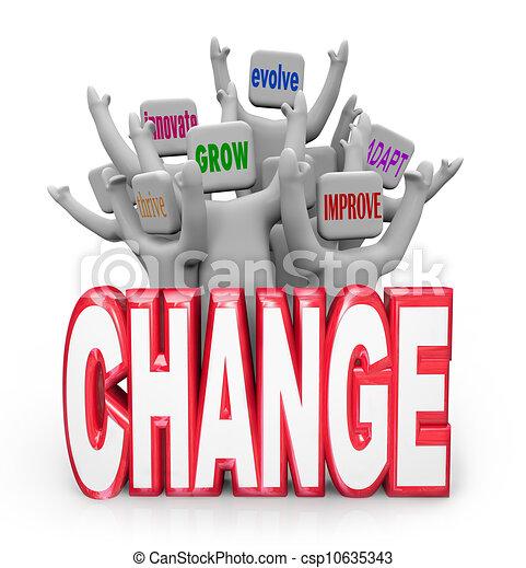 evoluir, pessoas, inove, adaptar, equipe, mudança, melhorar - csp10635343
