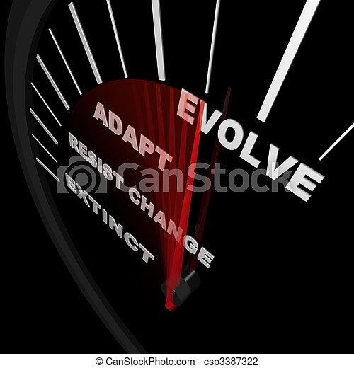 Evolve - Speedometer Tracks Progress of Change - csp3387322