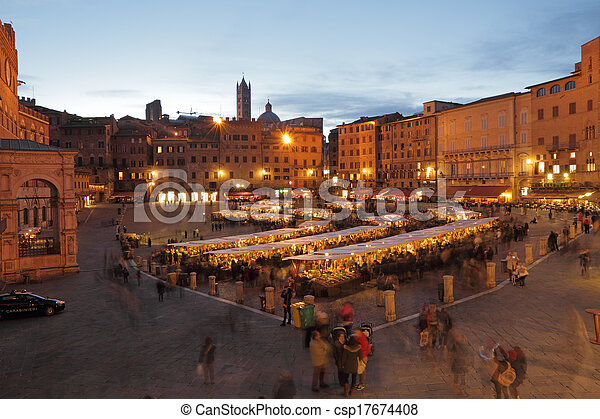 evropa, čtverec, campo, mercato, (, dějinný, toskánsko, tradiční, ), grande, dovednost, strava, itálie, hlavní, siena, obchod, il - csp17674408