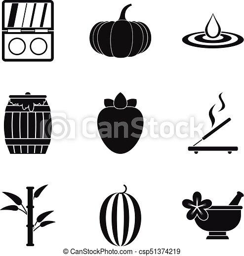 Iconos de masaje exóticos, estilo simple - csp51374219