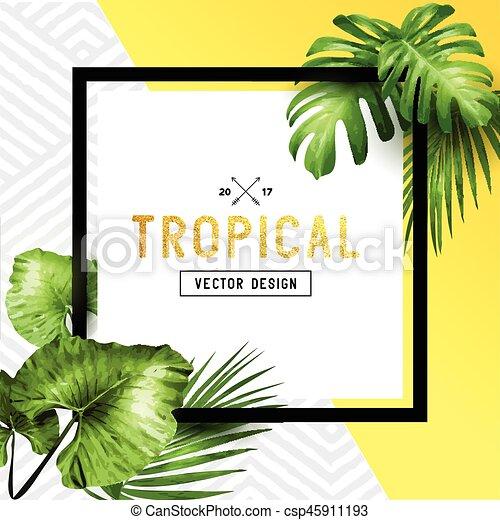 Exótico, tropical, marco, verano. Exótico, verano, modelado, marco ...