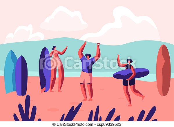 Fiesta de surf en un complejo exótico en la costa. Hombre y mujer deportistas con tablas relajarse en playa arenosa. Ocio de verano, deporte de surf, recreación, actividad deportiva de verano. Ilustración de vectores planos del cartón - csp69339523