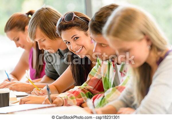 exame, alto-escola, estudantes, estudo, escrita, adolescentes - csp18231301