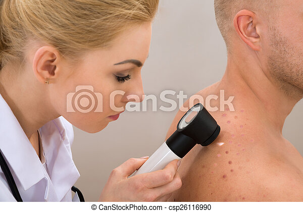 examiner, pigmenté, docteur, peau - csp26116990