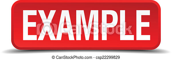 Example red 3d square button isolated on white background - csp22299829