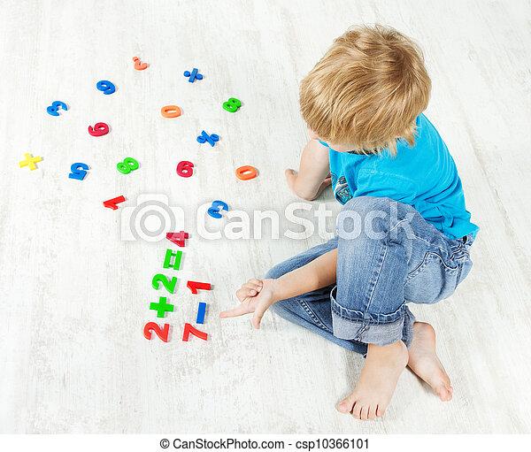 example., regarder, answer., résoudre, enfant, mathématiques - csp10366101