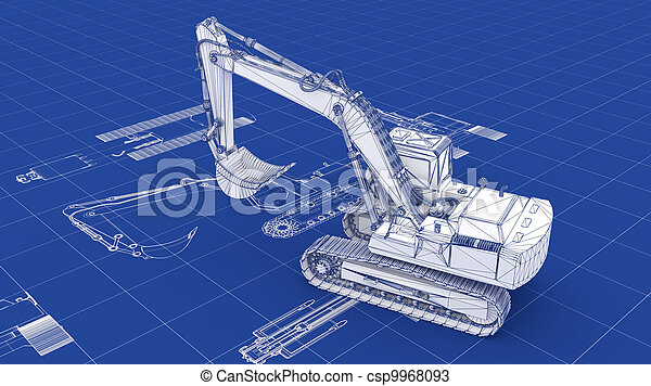 Excavator Blueprint - csp9968093