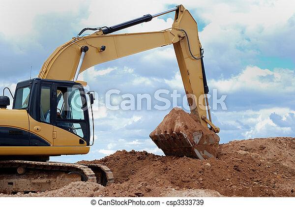 Excavator bulldozer loader in sandpit - csp3333739