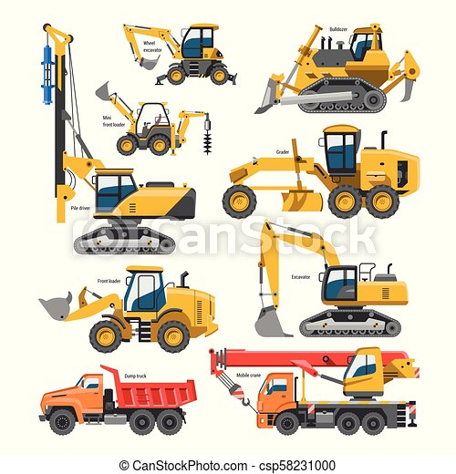 Excavator For Construction Vector Digger Or Bulldozer Excavating With Shovel And Excavation Machinery Industry Illustration Set Of Constructive