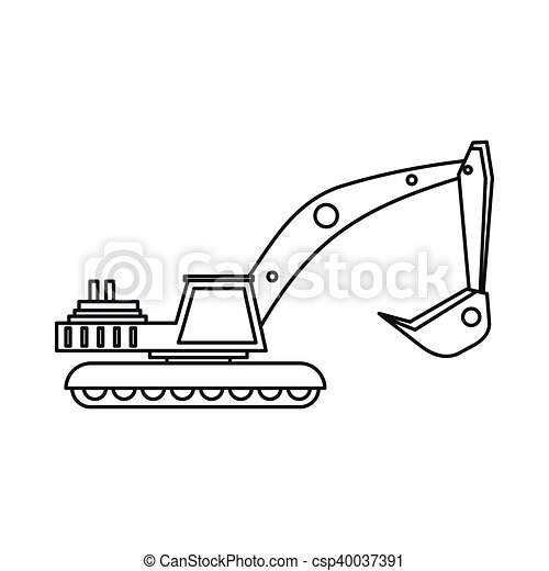 Excavator Icon In Outline Style