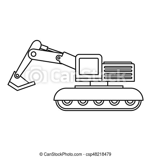 Excavator Icon Outline In Style Isolated
